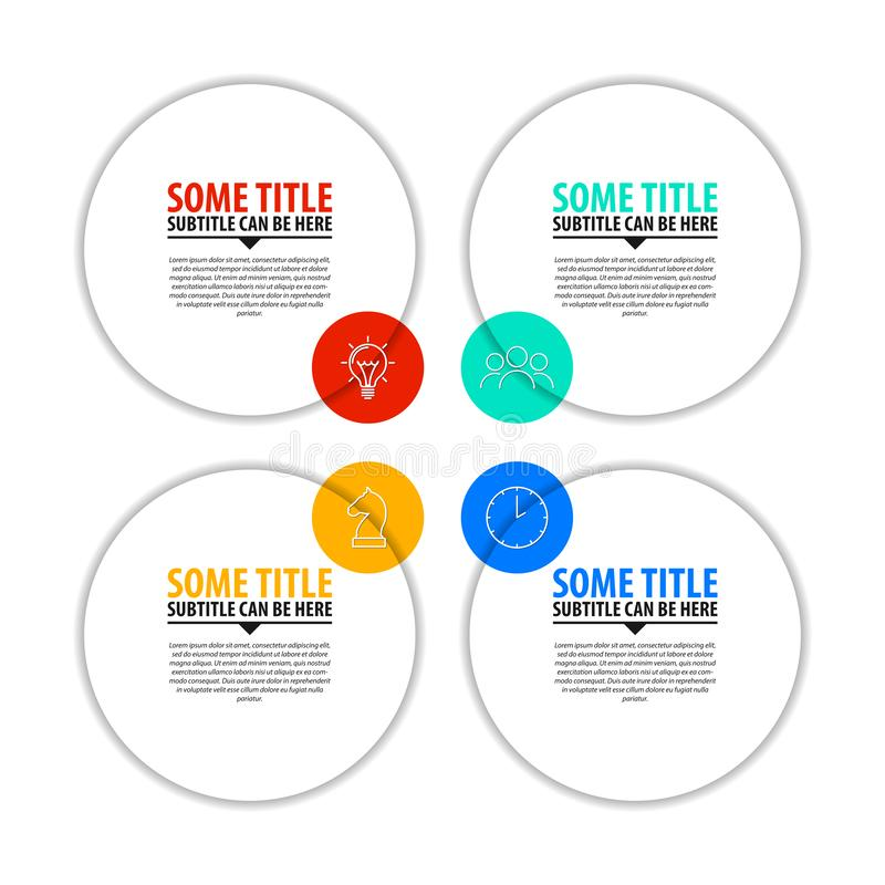 Idee, Zeitachse mit Pfeil anzuzeigen Kreatives Konzept mit 4 Schritten stock abbildung