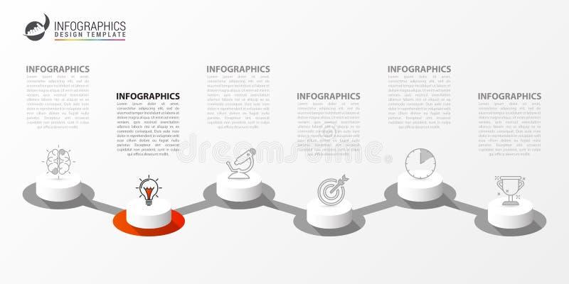 Idee, Zeitachse mit Pfeil anzuzeigen Kreatives Konzept mit 6 Schritten lizenzfreie abbildung