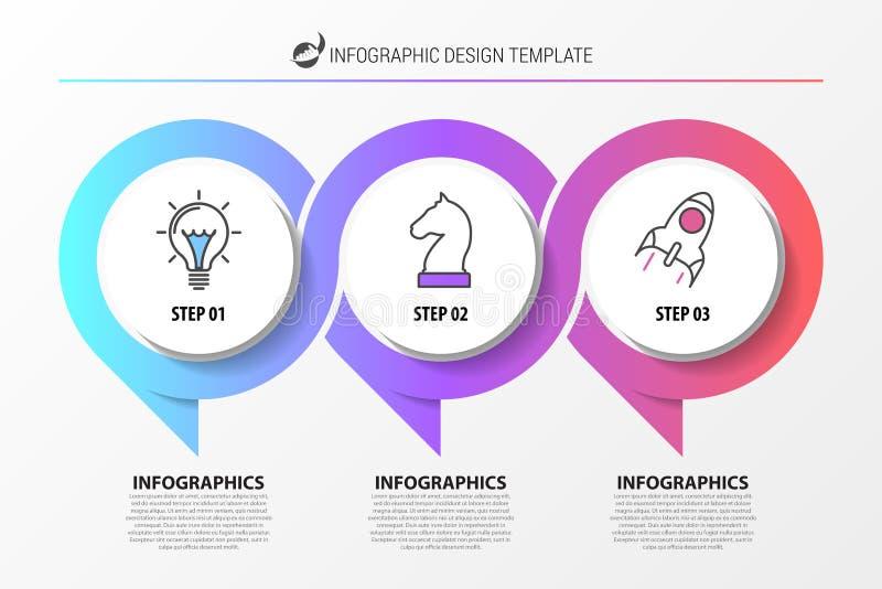 Idee, Zeitachse mit Pfeil anzuzeigen Organisationsübersicht mit 3 Schritten stock abbildung
