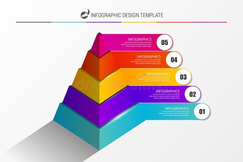Idee, Zeitachse mit Pfeil anzuzeigen Pyramide mit 5 Schritten Vektor vektor abbildung