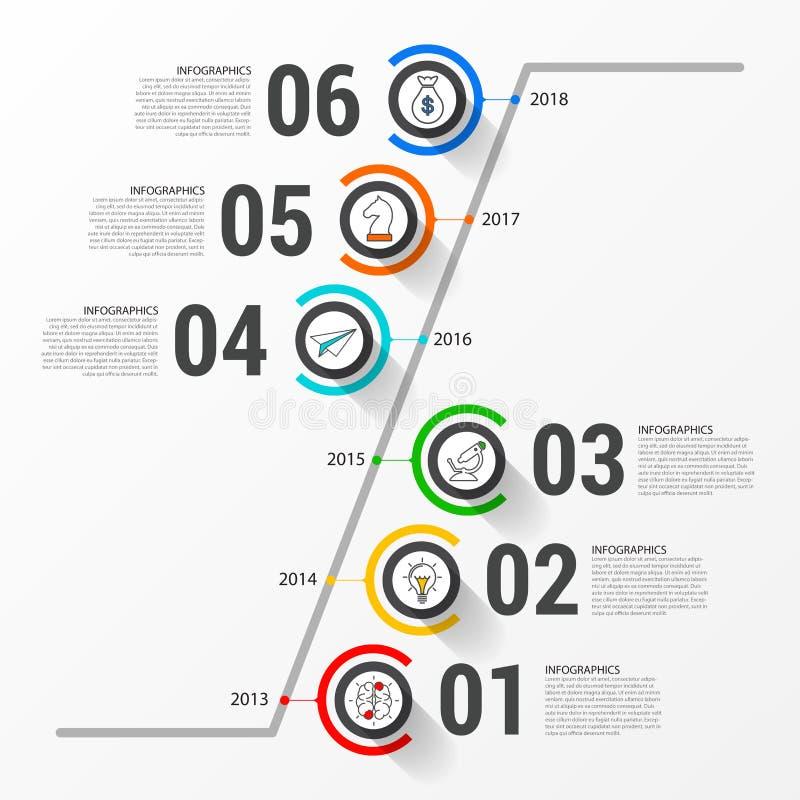 Idee, Zeitachse mit Pfeil anzuzeigen Zeitachsekonzept mit 6 Schritten lizenzfreie abbildung