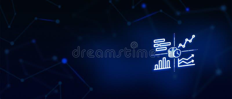 Ideebol, bedrijfsoplossing, succes, creativiteit, inspiratie, middelen, brightAnalysisfinanciën, Statistiekengrafiek Financiële B stock illustratie