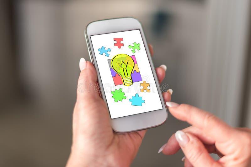 Ideeconcept op een smartphone royalty-vrije stock afbeelding
