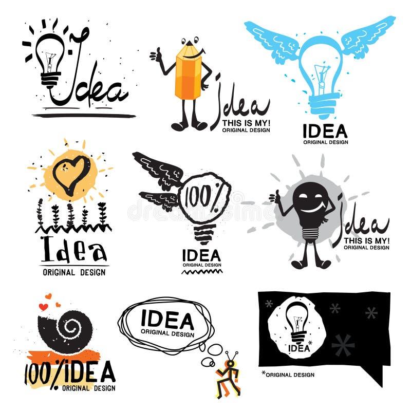 Ideeembleem Symbool van het gloed het gekke embleem Gloeilamp met vleugelsembleem vector illustratie