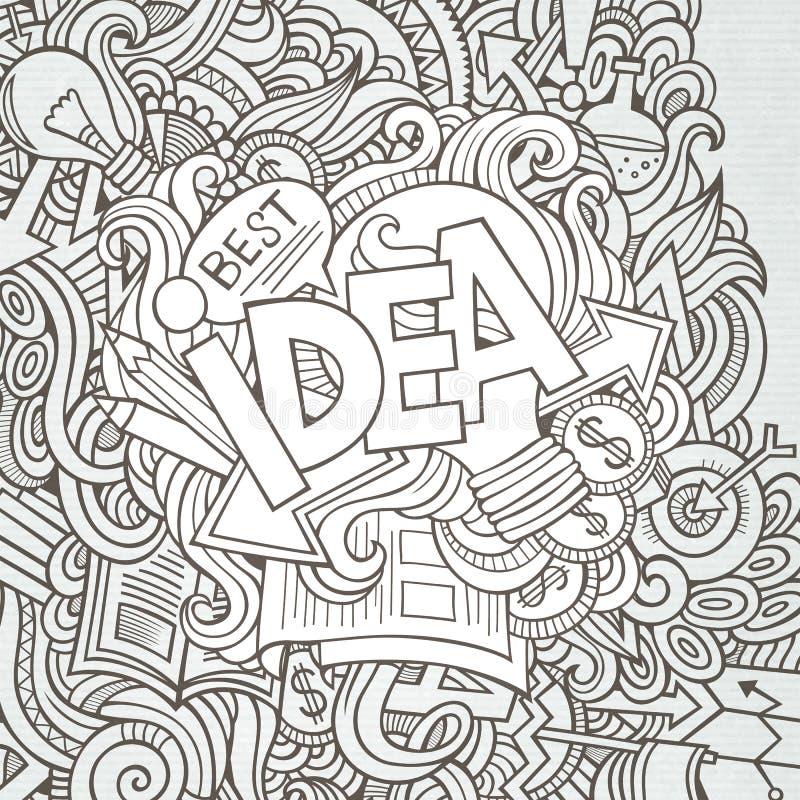 Ideehand het van letters voorzien en krabbelselementen stock illustratie