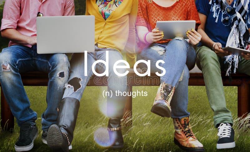 Ideen-Gedanken-Kreativitäts-Inspirations-Fantasie-Konzept lizenzfreies stockfoto