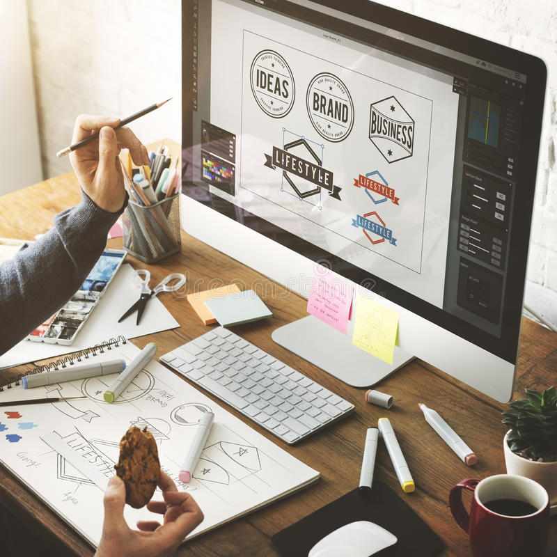Ideen-kreatives Besetzungs-Design-Studio-Zeichnungs-Start-Konzept lizenzfreies stockbild