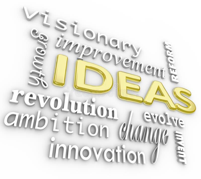 Ideen-Wort-Hintergrund - Wörter der Innovations-Visions-3D lizenzfreie abbildung
