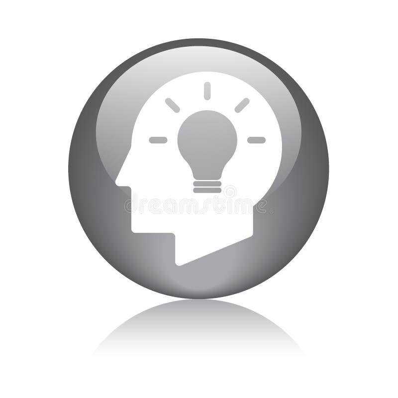 Ideenbirnenkopf-Gehirnikone vektor abbildung