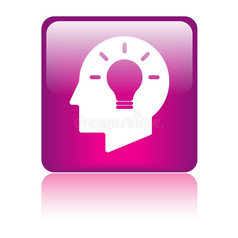 Ideenbirnenkopf-Gehirnikone lizenzfreie abbildung