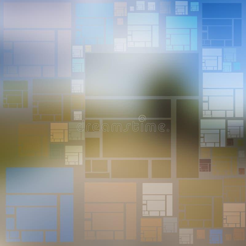 Ideenhintergrund von mehrfarbigen Quadraten und von Rechtecken lizenzfreie abbildung