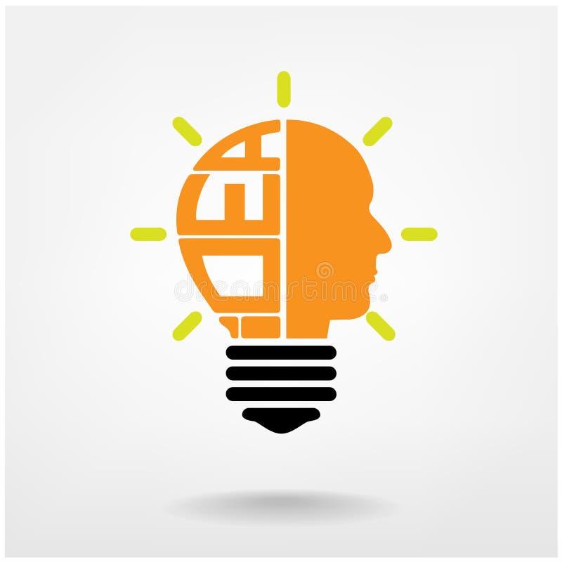 Ideenikone, kreatives Glühlampezeichen, Geschäftsideen lizenzfreie abbildung