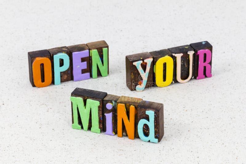 Ideenreichtum des offenen Geistes inspirieren Design Erfolg Fantasie stockbilder