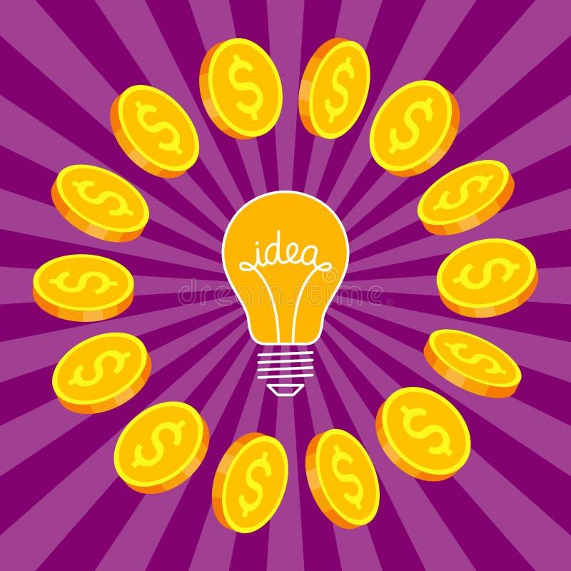 Ideensymbol und Goldmünzen herum vektor abbildung