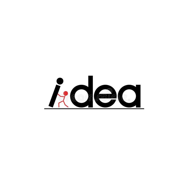 Ideenwort-Inspirationsfahne Konzeptmotivationsaufschrift-Briefgestaltungsplakat Schattenbild eines Erfolgsmannes einen Buchstaben stock abbildung