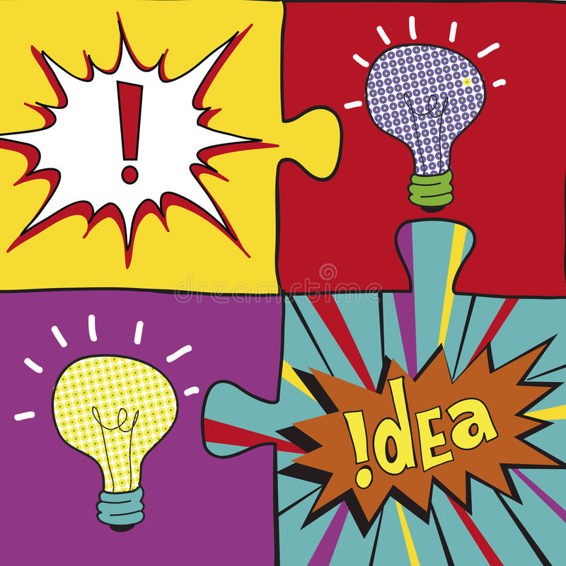 Ideeraadsels in Pop-artstijl Het creatieve het concepten van het gloeilampenidee ontwerp als achtergrond voor affiche flayer beha royalty-vrije illustratie