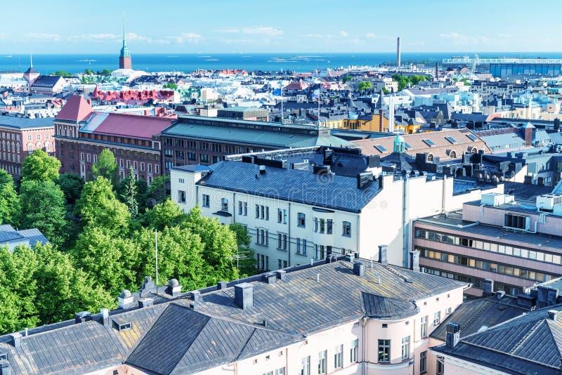 Ideia aérea bonita da arquitetura da cidade de Helsínquia, Finlandia foto de stock royalty free