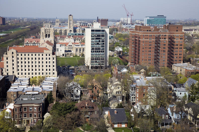 Ideia aérea da área da Universidade de Chicago foto de stock royalty free