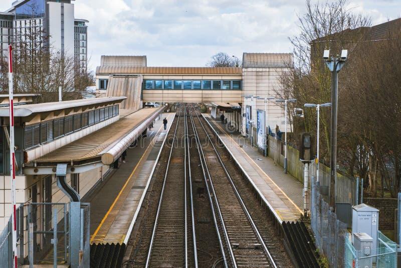 Ideia aérea da estação de trem de Feltham foto de stock