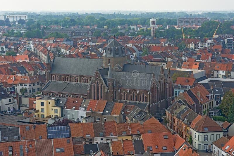 Ideia aérea da igreja e dos arredores de Saint Joseph em Ghent fotografia de stock