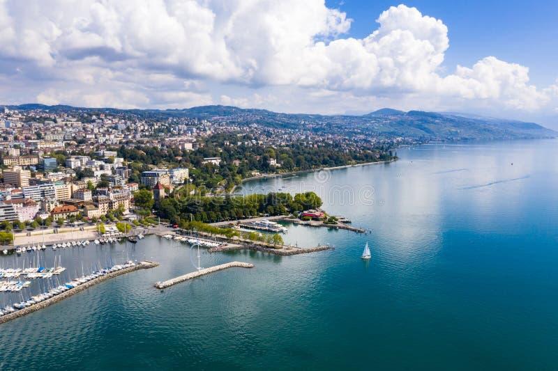 Ideia aérea da margem de Ouchy em Suíça de Lausana fotografia de stock royalty free