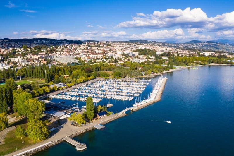 Ideia aérea da margem de Ouchy em Suíça de Lausana fotografia de stock