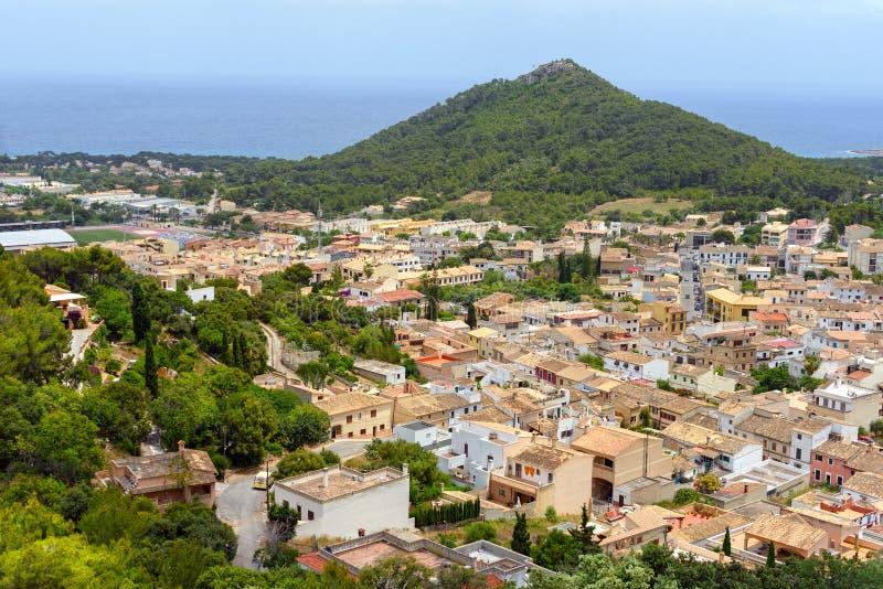 Ideia aérea da municipalidade velha de Capdeperal Ilha Majorca, Espanha imagens de stock royalty free