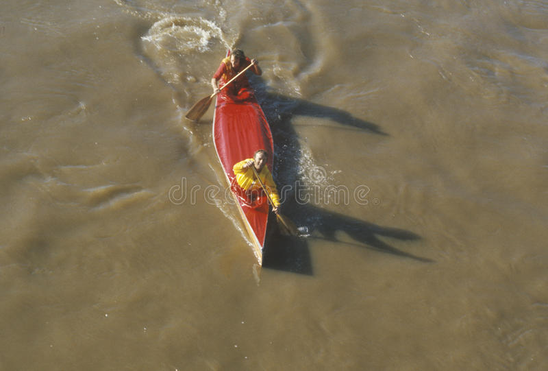 Ideia aérea da raça da canoa, o Rio Delaware, Catskills, Callicoon, NY fotografia de stock