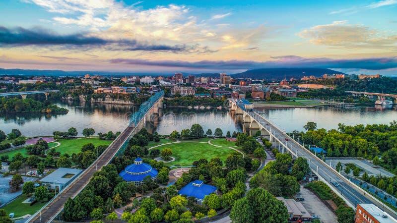 Ideia aérea da skyline de Chattanooga Tennessee TN foto de stock