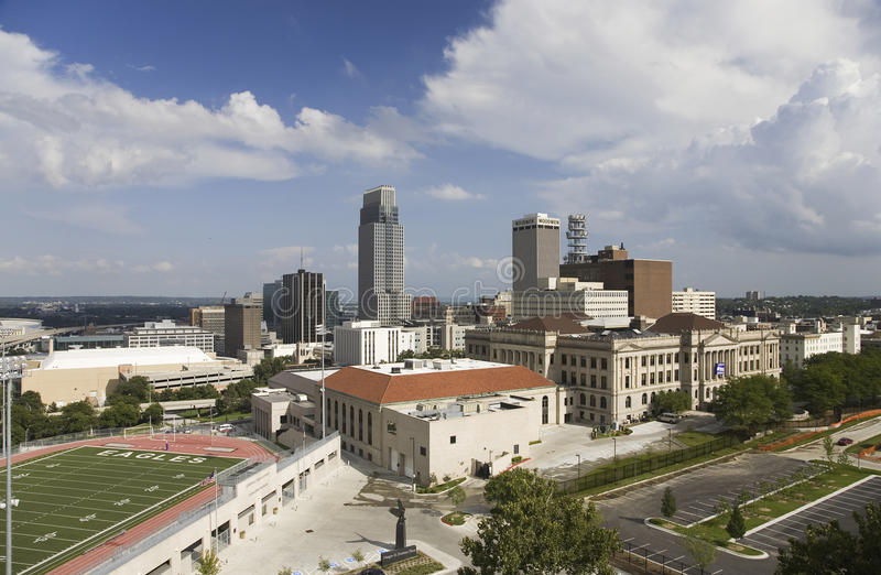 Ideia aérea da skyline de Omaha Nebraska fotos de stock