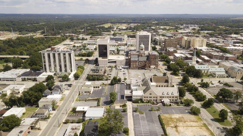 Ideia aérea da skyline do centro da cidade de Macon Georgia fotografia de stock