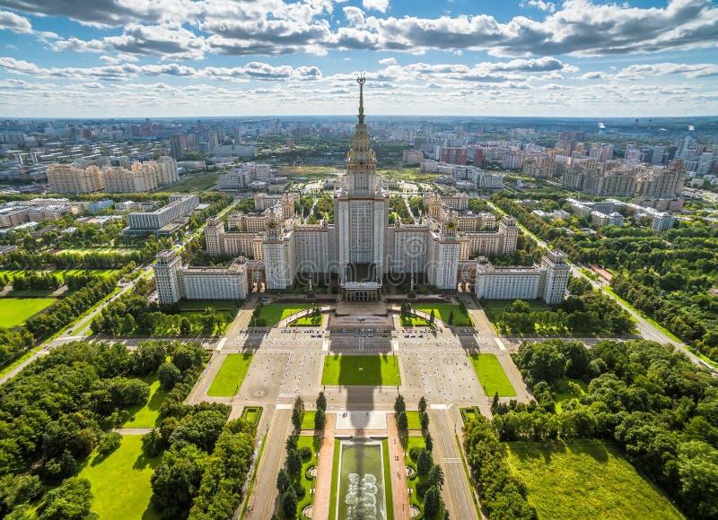Ideia aérea da universidade estadual de Moscou fotos de stock