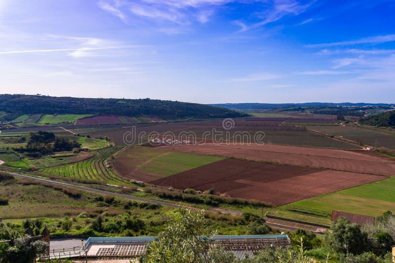 Ideia aérea de um campo de exploração agrícola com o céu azul no fundo portugal imagem de stock royalty free