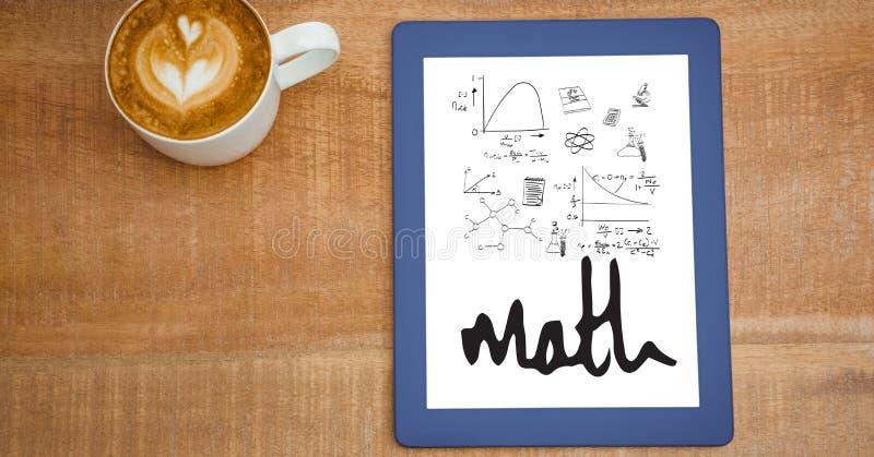 Ideia aérea de várias equações da matemática na tabuleta digital pelo copo de café na tabela ilustração royalty free