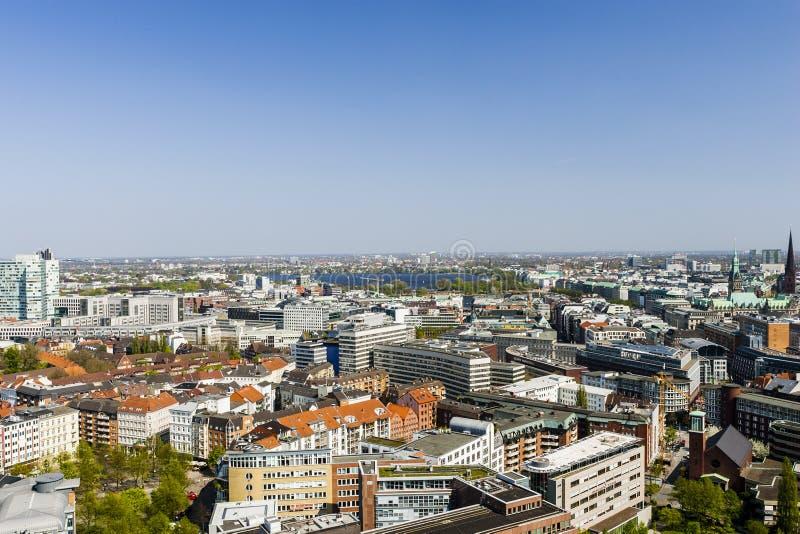 Ideia aérea do centro da cidade de Hamburgo, Alemanha foto de stock