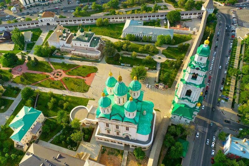 Ideia aérea do complexo do Kremlin de Astracã, o histórico e o arquitetónico R?ssia, Astrac? fotos de stock royalty free