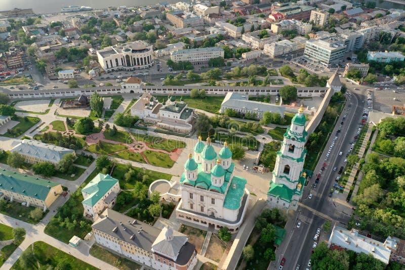 Ideia aérea do complexo do Kremlin de Astracã, o histórico e o arquitetónico R?ssia, Astrac? fotografia de stock