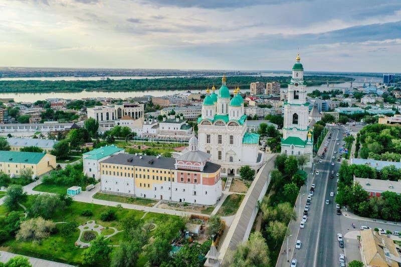 Ideia aérea do complexo do Kremlin de Astracã, o histórico e o arquitetónico R?ssia, Astrac? foto de stock royalty free
