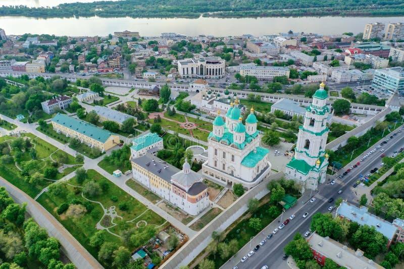 Ideia aérea do complexo do Kremlin de Astracã, o histórico e o arquitetónico R?ssia, Astrac? imagem de stock