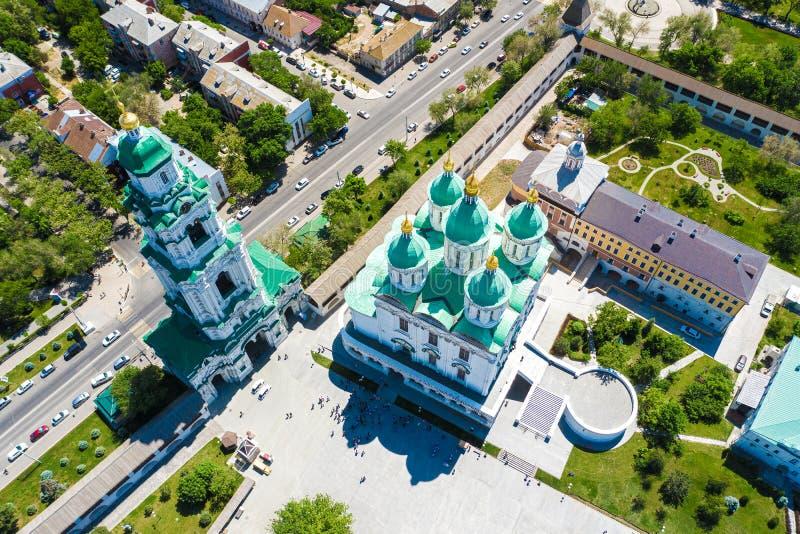 Ideia aérea do complexo do Kremlin de Astracã, o histórico e o arquitetónico R?ssia, Astrac? imagens de stock