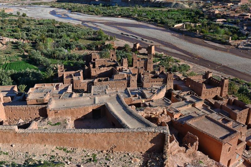 Ideia aérea do kasbah de Ait Ben Haddou, Marrocos fotos de stock royalty free