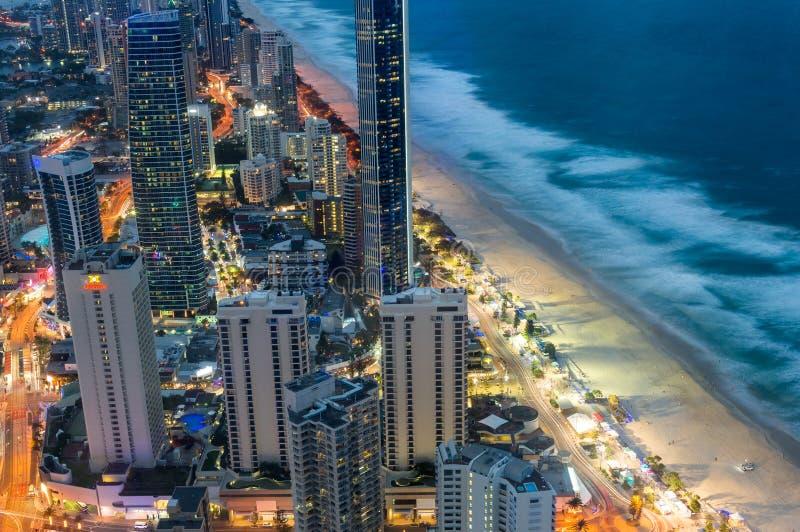 Ideia aérea do paraíso dos surfistas em Gold Coast, Austrália fotografia de stock royalty free