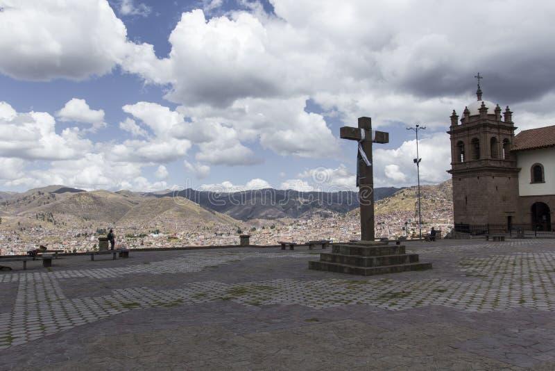 Ideia aérea do quadrado principal na capital dos Incas, Cusco, P foto de stock