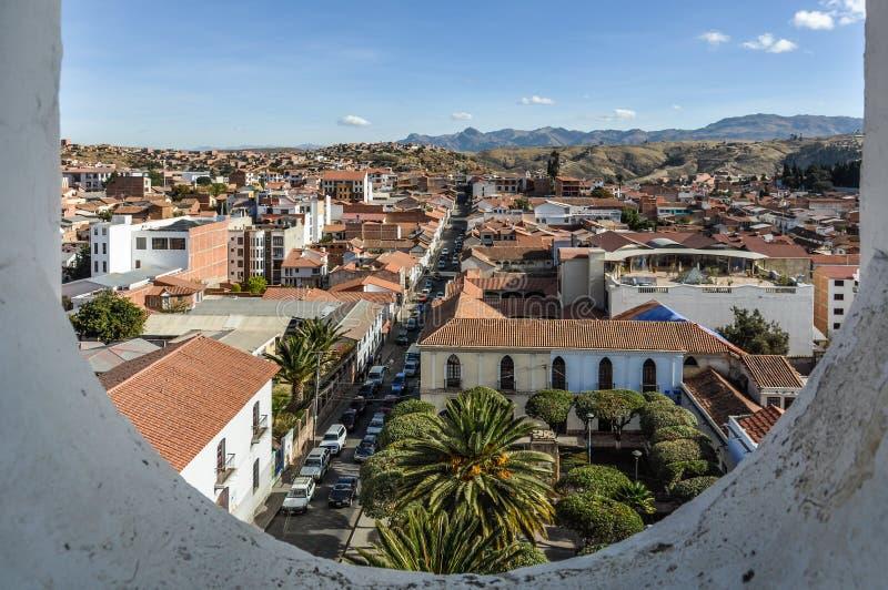 Ideia aérea do sucre, Bolívia fotografia de stock