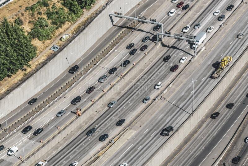Ideia aérea do tráfego 5 de um estado a outro fotografia de stock