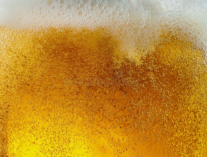 Ideia ascendente próxima de bolhas de flutuação na textura da cerveja clara foto de stock