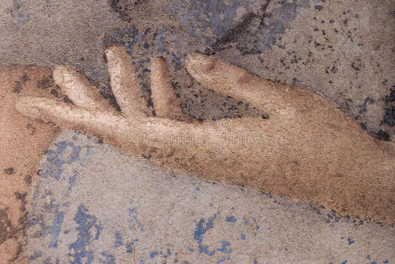 Ideia ascendente próxima do detalhe da mão tirada, arte finala na lona ilustração do vetor