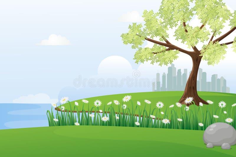 Ideia bonita da ilustração do vetor do beira-rio ilustração do vetor