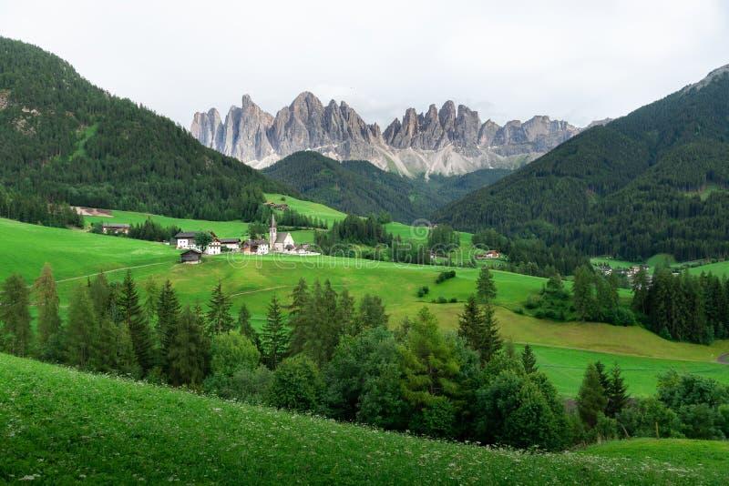 Ideia bonita do campo e do campo verde com fundo das montanhas no verão das dolomites, Itália fotos de stock royalty free