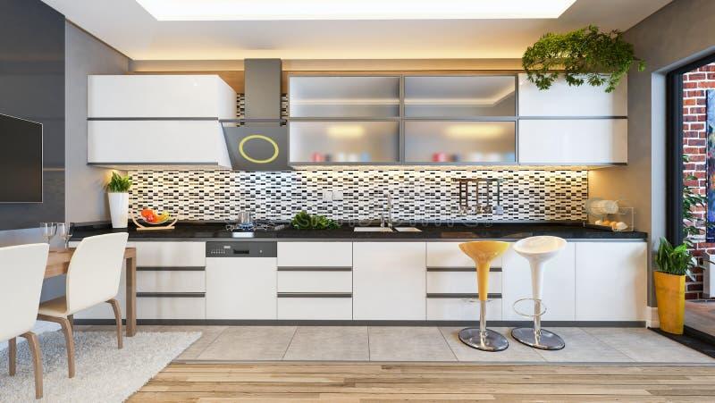 Ideia branca da decoração do projeto da cozinha ilustração stock